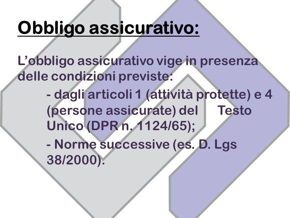 Obbligo assicurativo: Lobbligo assicurativo vige in presenza delle condizioni previste: - dagli articoli 1 (attività protette) e 4 (persone assicurate) del Testo Unico (DPR n.