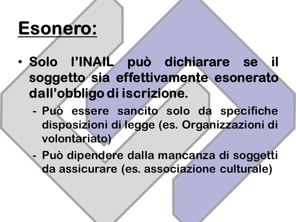 Esonero: Solo lINAIL può dichiarare se il soggetto sia effettivamente esonerato dallobbligo di iscrizione.