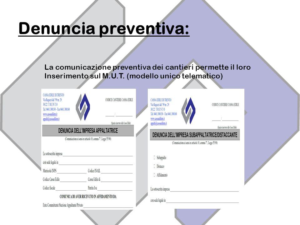 Denuncia preventiva: La comunicazione preventiva dei cantieri permette il loro Inserimento sul M.U.T.