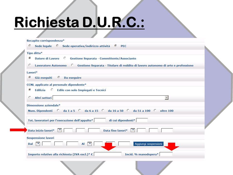 Richiesta D.U.R.C.: