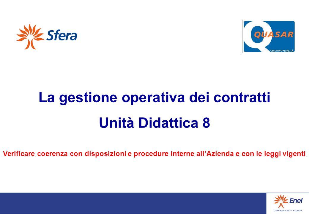 La gestione operativa dei contratti Unità Didattica 8 Verificare coerenza con disposizioni e procedure interne allAzienda e con le leggi vigenti
