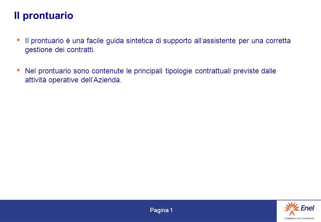 Pagina 1 Il prontuario Il prontuario è una facile guida sintetica di supporto allassistente per una corretta gestione dei contratti.