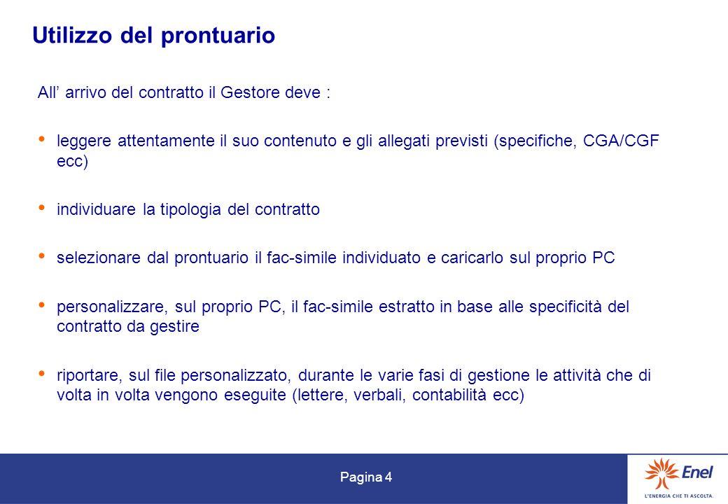 Pagina 4 Utilizzo del prontuario All arrivo del contratto il Gestore deve : leggere attentamente il suo contenuto e gli allegati previsti (specifiche,
