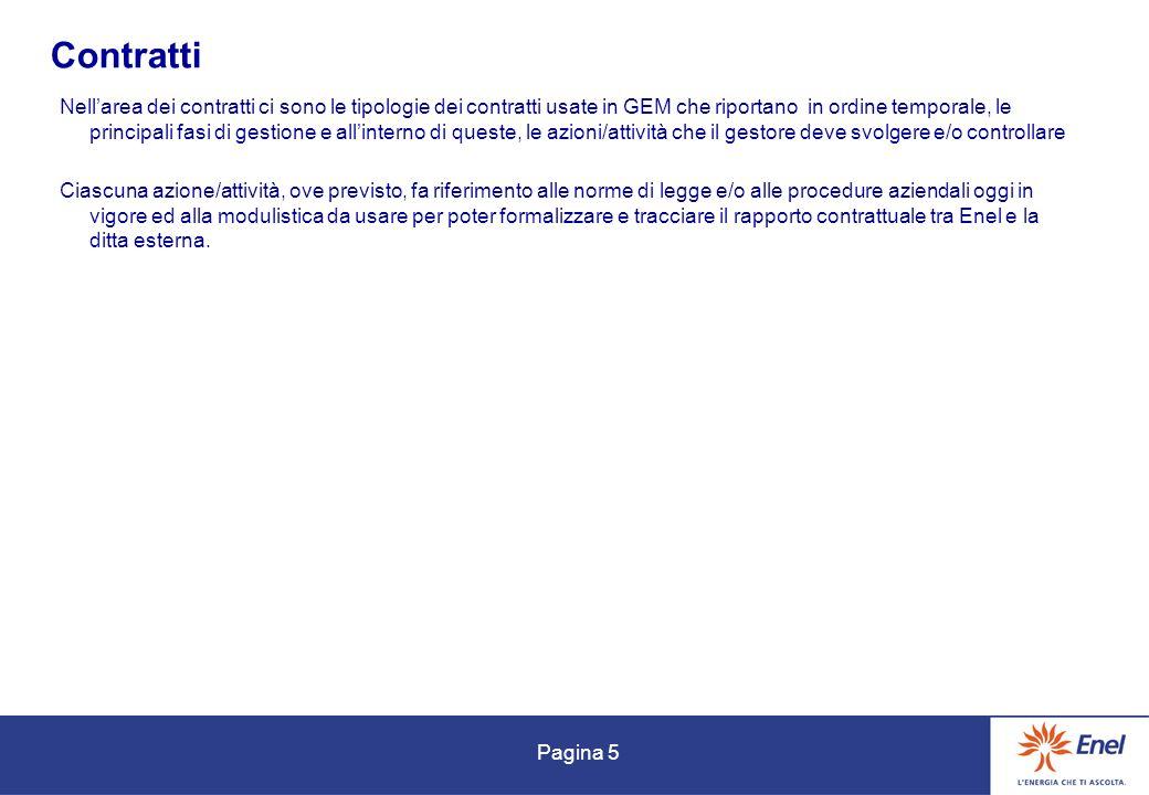Pagina 5 Contratti Nellarea dei contratti ci sono le tipologie dei contratti usate in GEM che riportano in ordine temporale, le principali fasi di ges