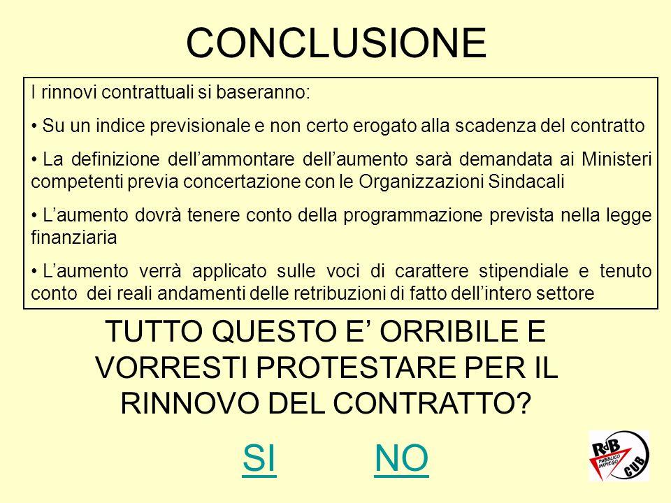 CONCLUSIONE I rinnovi contrattuali si baseranno: Su un indice previsionale e non certo erogato alla scadenza del contratto La definizione dellammontar