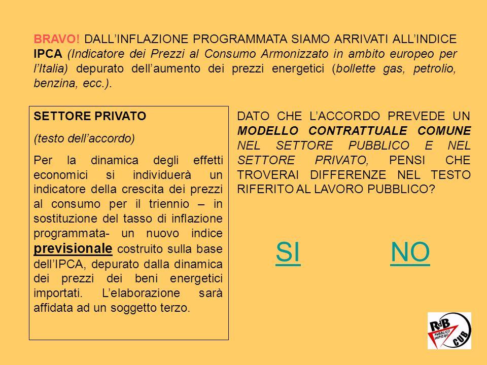 BRAVO! DALLINFLAZIONE PROGRAMMATA SIAMO ARRIVATI ALLINDICE IPCA (Indicatore dei Prezzi al Consumo Armonizzato in ambito europeo per lItalia) depurato