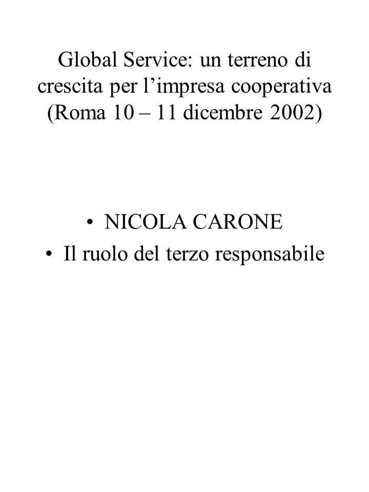 Global Service: un terreno di crescita per limpresa cooperativa (Roma 10 – 11 dicembre 2002) NICOLA CARONE Il ruolo del terzo responsabile