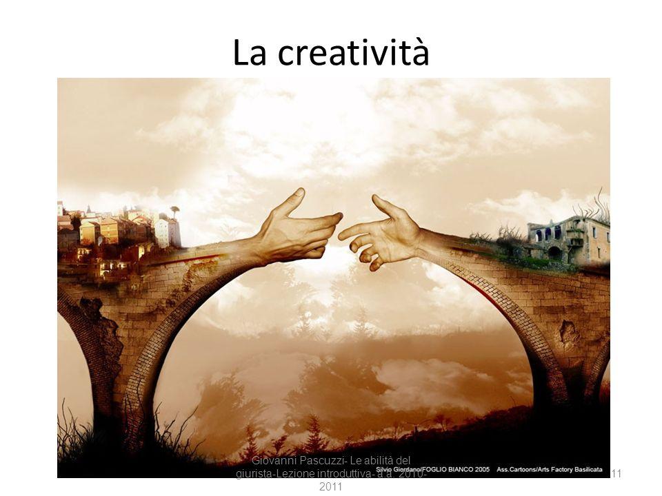 11 La creatività Giovanni Pascuzzi- Le abilità del giurista-Lezione introduttiva- a.a. 2010- 2011