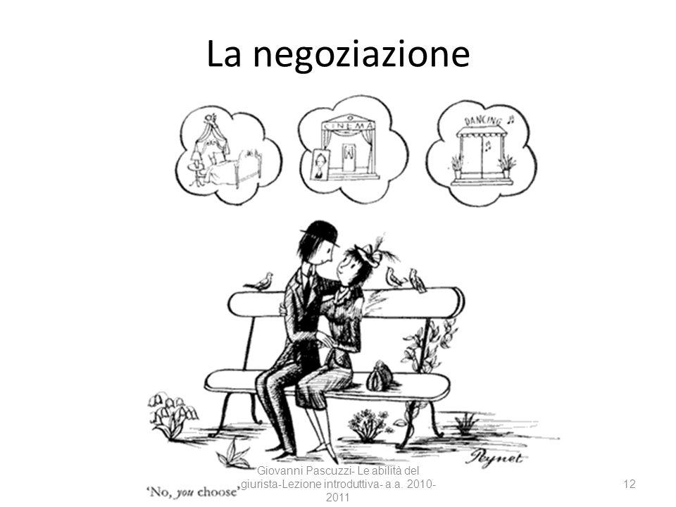 12 La negoziazione Giovanni Pascuzzi- Le abilità del giurista-Lezione introduttiva- a.a. 2010- 2011