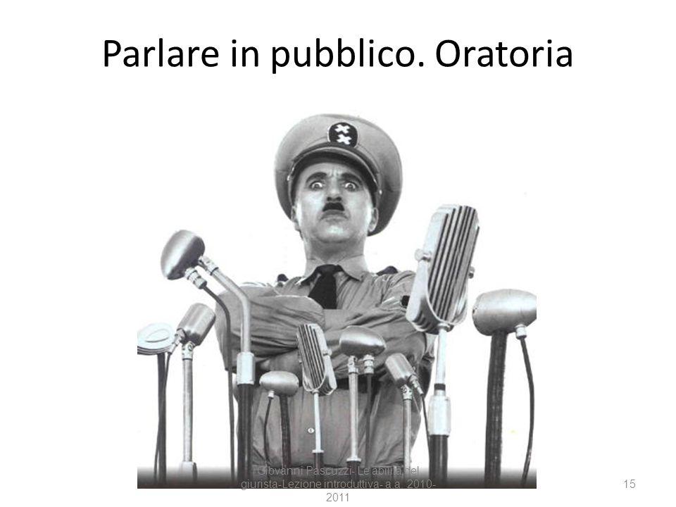 15 Parlare in pubblico. Oratoria Giovanni Pascuzzi- Le abilità del giurista-Lezione introduttiva- a.a. 2010- 2011