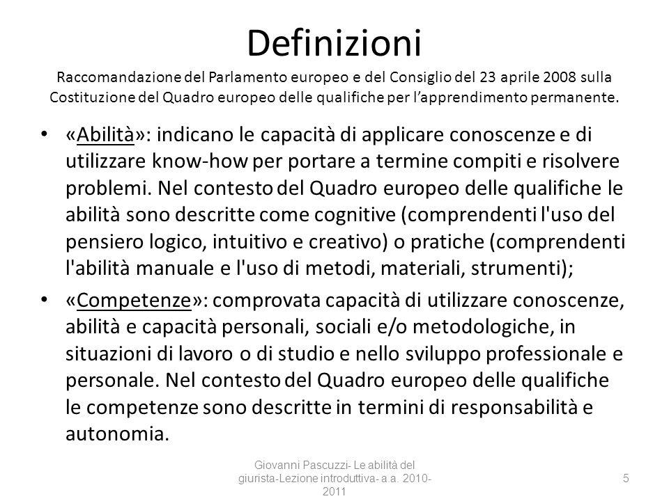 Definizioni Raccomandazione del Parlamento europeo e del Consiglio del 23 aprile 2008 sulla Costituzione del Quadro europeo delle qualifiche per lappr