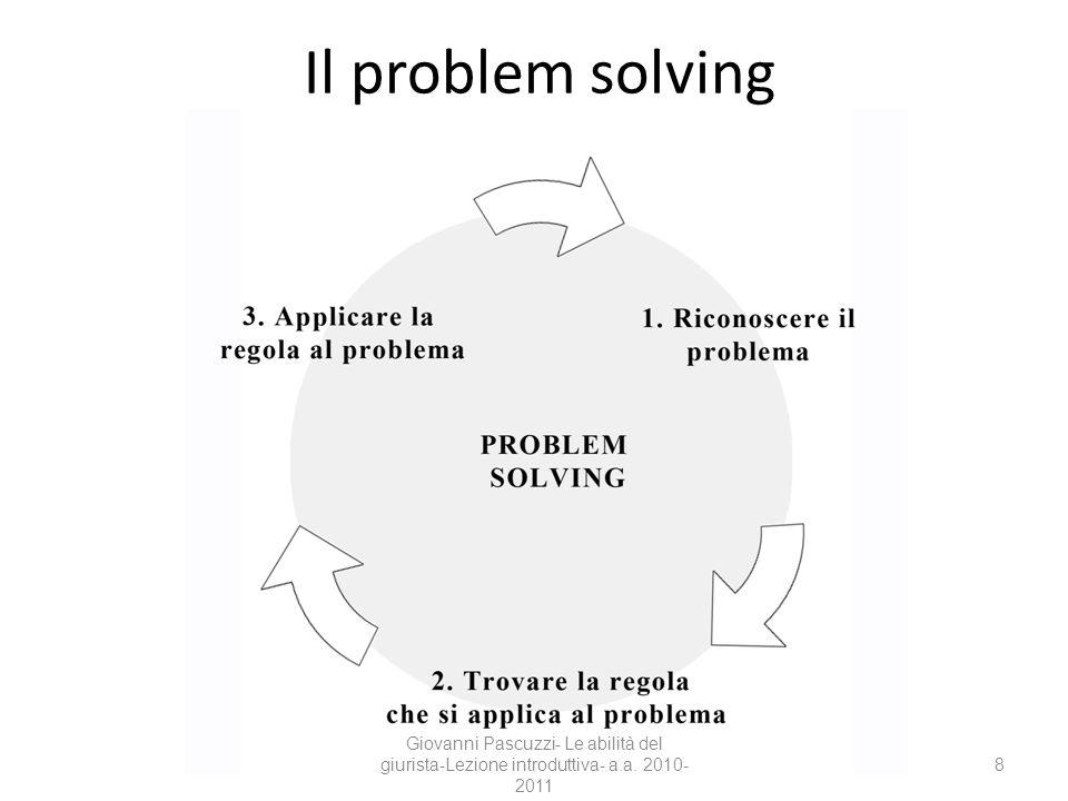 8 Il problem solving Giovanni Pascuzzi- Le abilità del giurista-Lezione introduttiva- a.a. 2010- 2011