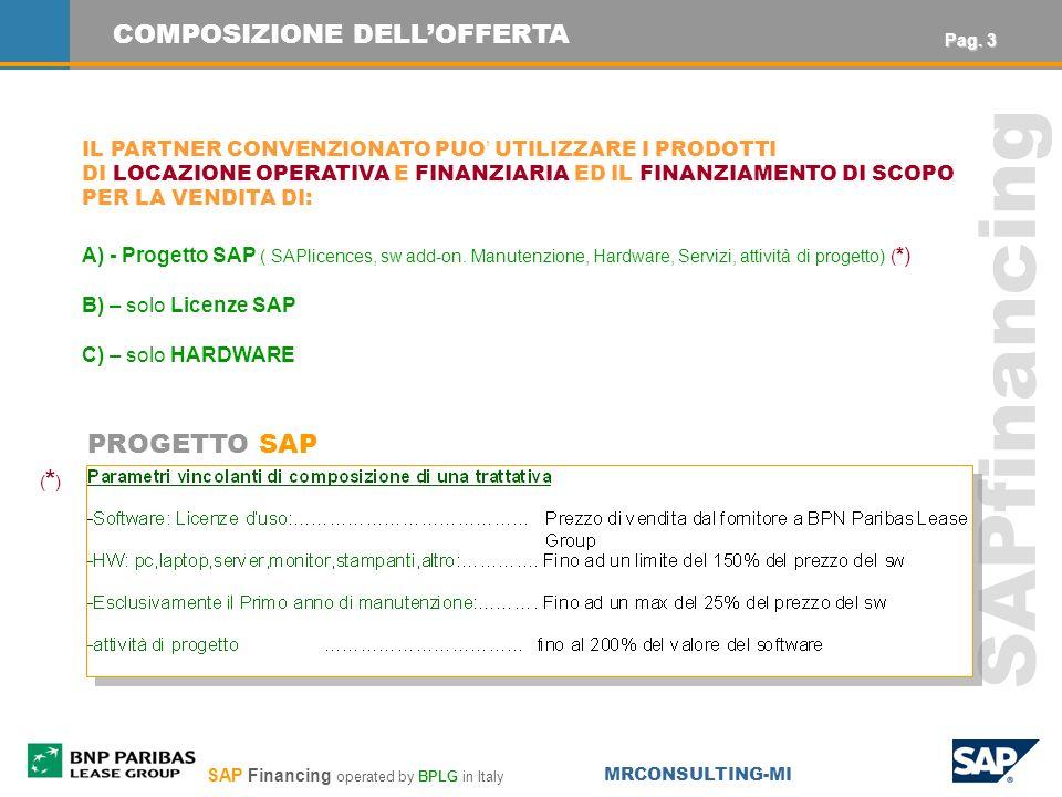 SAP Financing operated by BPLG in Italy MRCONSULTING-MI SAPfinancing COMPOSIZIONE DELLOFFERTA IL PARTNER CONVENZIONATO PUO UTILIZZARE I PRODOTTI DI LOCAZIONE OPERATIVA E FINANZIARIA ED IL FINANZIAMENTO DI SCOPO PER LA VENDITA DI: A) - Progetto SAP ( SAPlicences, sw add-on.