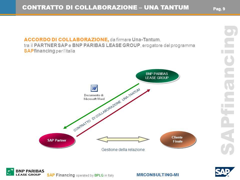 SAP Financing operated by BPLG in Italy MRCONSULTING-MI SAPfinancing Gestione della relazione CONTRATTO DI COLLABORAZIONE UNA-TANTUM Cliente Finale Cliente Finale SAP Partner BNP PARIBAS LEASE GROUP BNP PARIBAS LEASE GROUP CONTRATTO DI COLLABORAZIONE – UNA TANTUM ACCORDO DI COLLABORAZIONE, da firmare Una-Tantum, tra il PARTNER SAP e BNP PARIBAS LEASE GROUP, erogatore del programma SAPfinancing per litalia Pag.