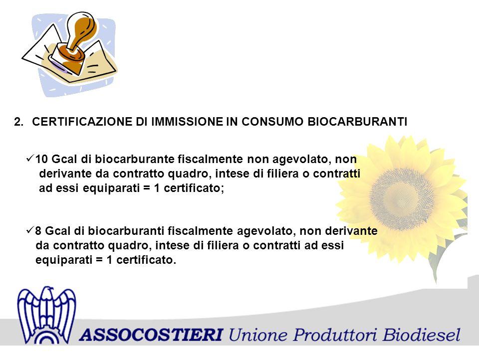 2.CERTIFICAZIONE DI IMMISSIONE IN CONSUMO BIOCARBURANTI 10 Gcal di biocarburante fiscalmente non agevolato, non derivante da contratto quadro, intese