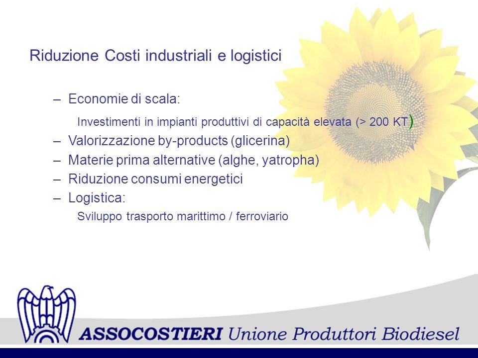 Riduzione Costi industriali e logistici –Economie di scala: Investimenti in impianti produttivi di capacità elevata (> 200 KT ) –Valorizzazione by-pro