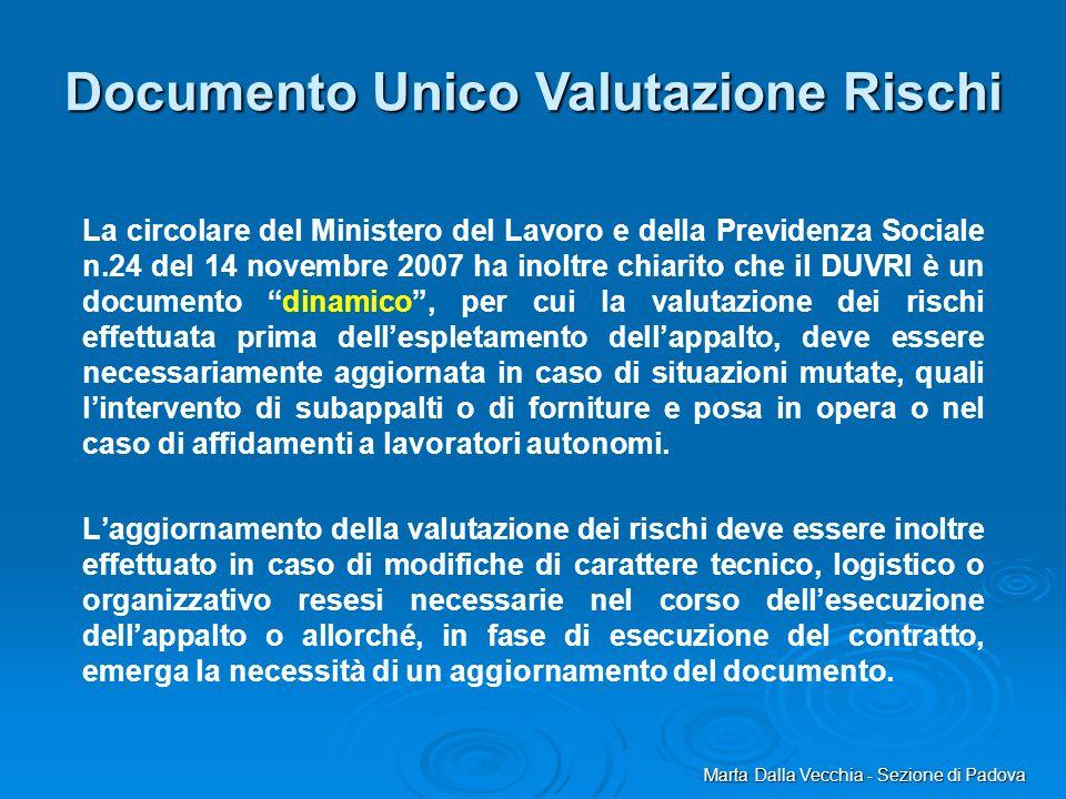 La circolare del Ministero del Lavoro e della Previdenza Sociale n.24 del 14 novembre 2007 ha inoltre chiarito che il DUVRI è un documento dinamico, p