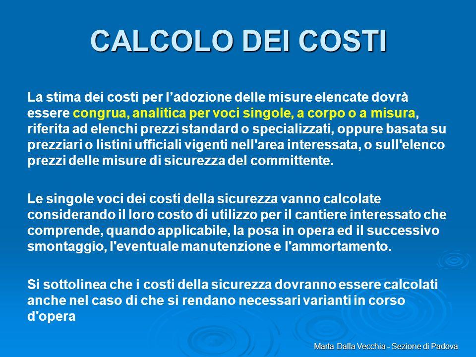 Marta Dalla Vecchia - Sezione di Padova CALCOLO DEI COSTI La stima dei costi per ladozione delle misure elencate dovrà essere congrua, analitica per v