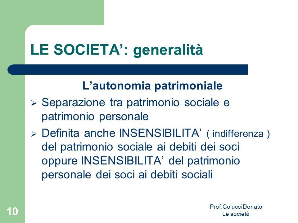 LE SOCIETA: generalità Lautonomia patrimoniale Separazione tra patrimonio sociale e patrimonio personale Definita anche INSENSIBILITA ( indifferenza )