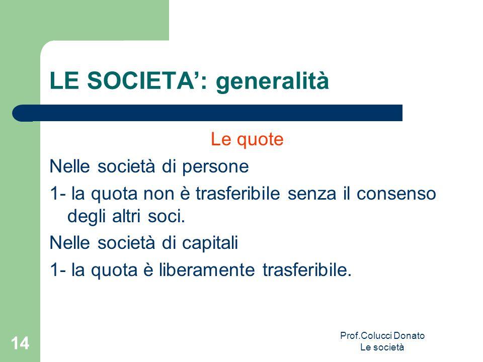 Le quote Nelle società di persone 1- la quota non è trasferibile senza il consenso degli altri soci. Nelle società di capitali 1- la quota è liberamen