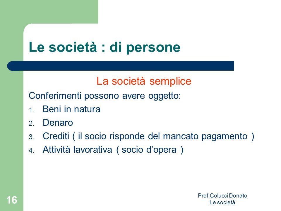 Le società : di persone La società semplice Conferimenti possono avere oggetto: 1. Beni in natura 2. Denaro 3. Crediti ( il socio risponde del mancato