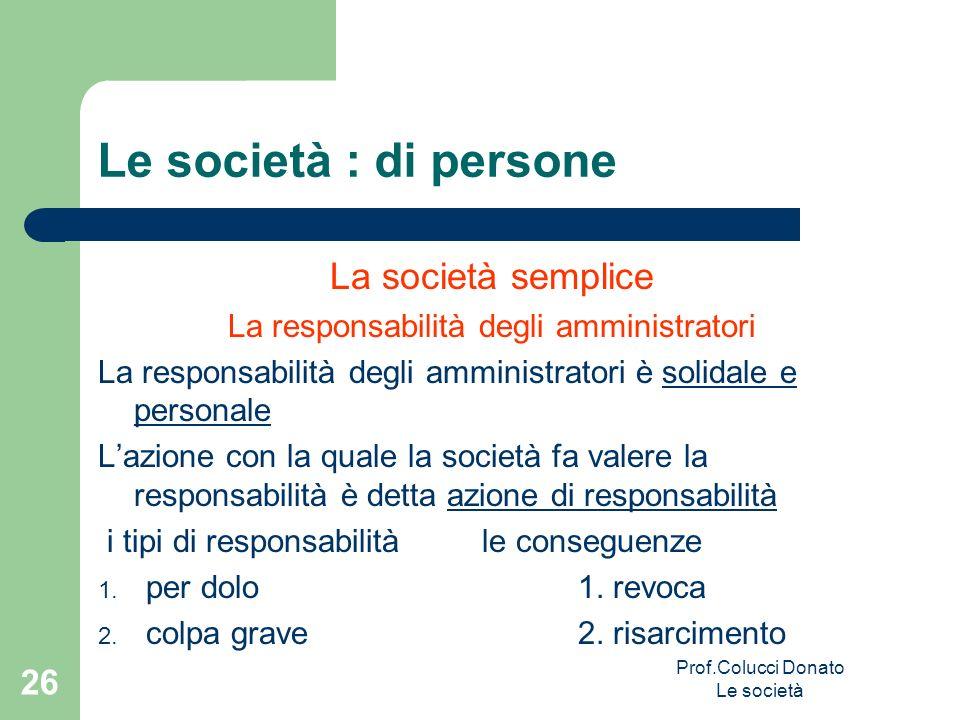 Le società : di persone La società semplice La responsabilità degli amministratori La responsabilità degli amministratori è solidale e personale Lazio