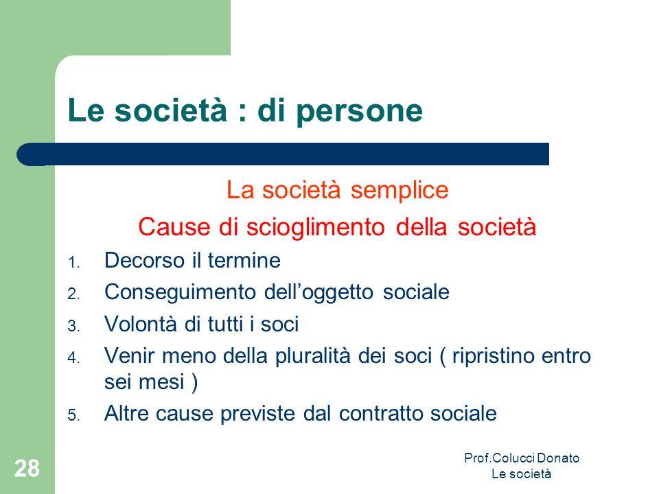 Le società : di persone La società semplice Cause di scioglimento della società 1. Decorso il termine 2. Conseguimento delloggetto sociale 3. Volontà