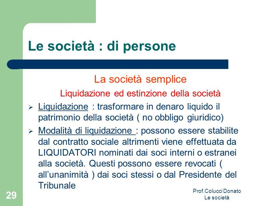 Le società : di persone La società semplice Liquidazione ed estinzione della società Liquidazione : trasformare in denaro liquido il patrimonio della