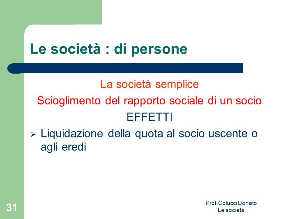 Le società : di persone La società semplice Scioglimento del rapporto sociale di un socio EFFETTI Liquidazione della quota al socio uscente o agli ere