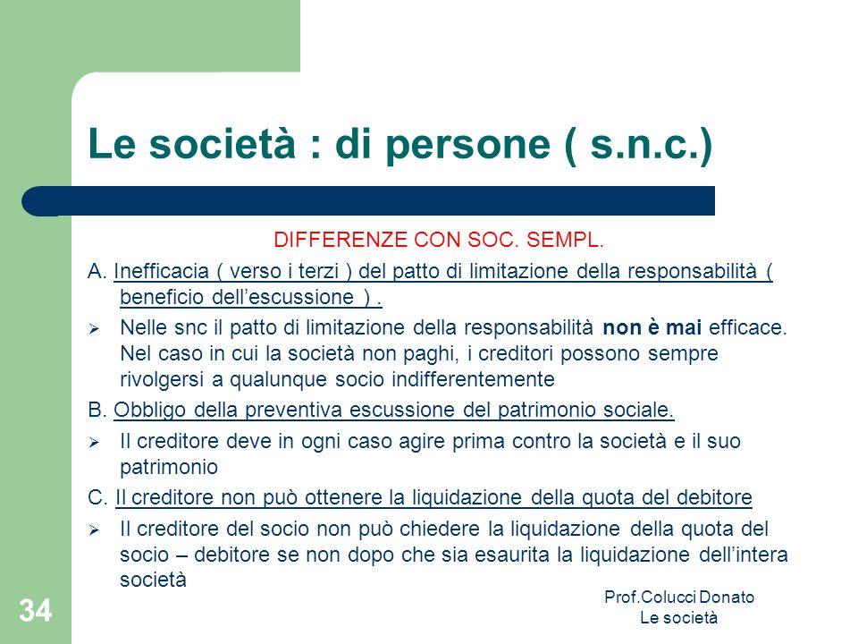 Le società : di persone ( s.n.c.) DIFFERENZE CON SOC. SEMPL. A. Inefficacia ( verso i terzi ) del patto di limitazione della responsabilità ( benefici