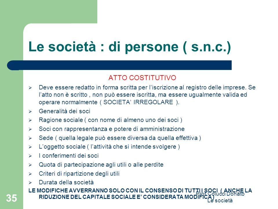 Le società : di persone ( s.n.c.) ATTO COSTITUTIVO Deve essere redatto in forma scritta per liscrizione al registro delle imprese. Se latto non è scri