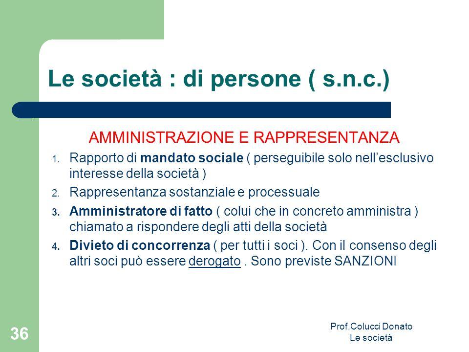 Le società : di persone ( s.n.c.) AMMINISTRAZIONE E RAPPRESENTANZA 1. Rapporto di mandato sociale ( perseguibile solo nellesclusivo interesse della so