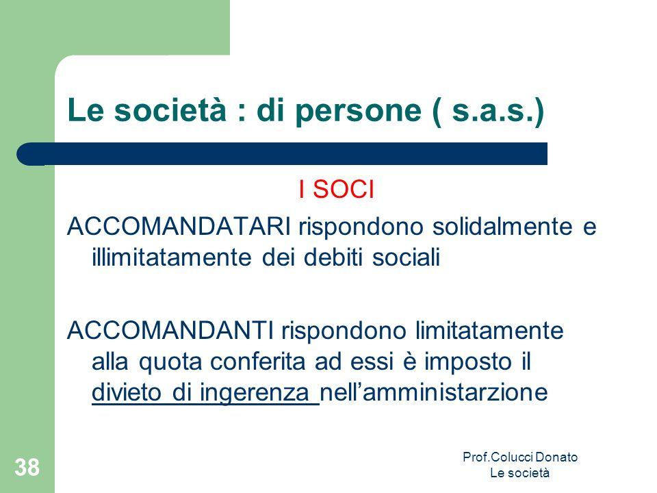 Le società : di persone ( s.a.s.) I SOCI ACCOMANDATARI rispondono solidalmente e illimitatamente dei debiti sociali ACCOMANDANTI rispondono limitatame