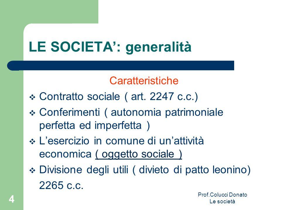 Caratteristiche Contratto sociale ( art. 2247 c.c.) Conferimenti ( autonomia patrimoniale perfetta ed imperfetta ) Lesercizio in comune di unattività