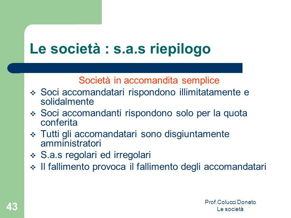 Società in accomandita semplice Soci accomandatari rispondono illimitatamente e solidalmente Soci accomandanti rispondono solo per la quota conferita