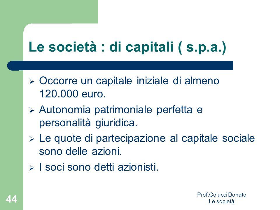 Le società : di capitali ( s.p.a.) Occorre un capitale iniziale di almeno 120.000 euro. Autonomia patrimoniale perfetta e personalità giuridica. Le qu