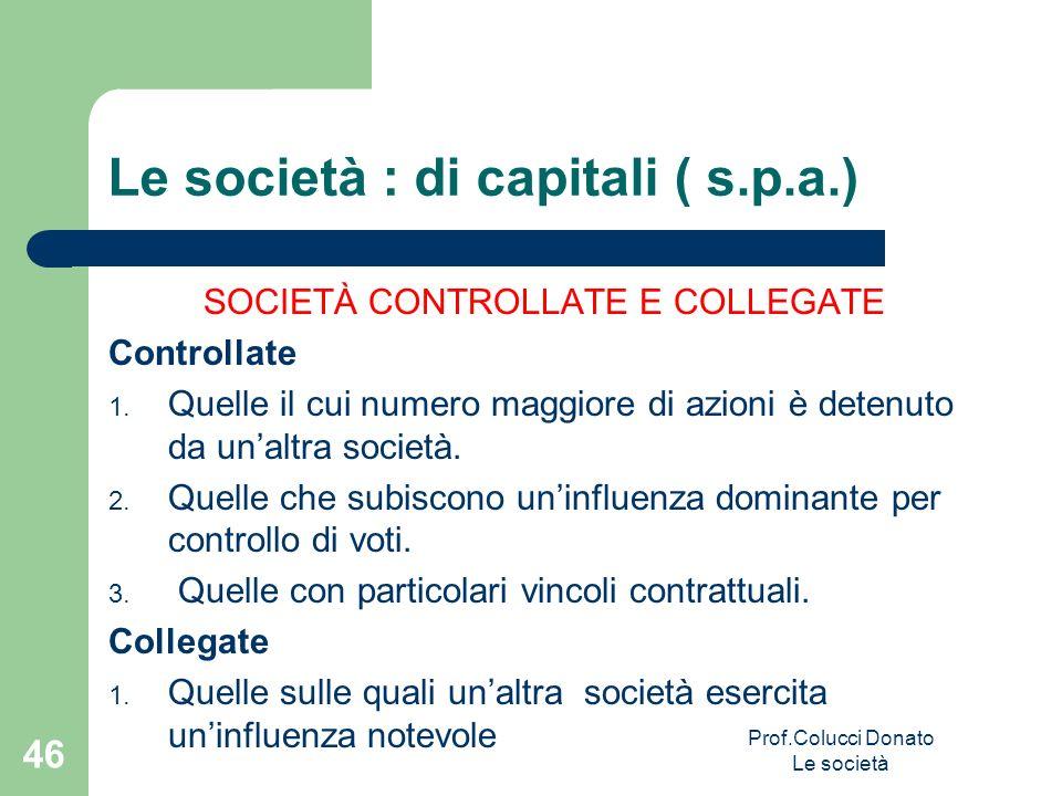Le società : di capitali ( s.p.a.) SOCIETÀ CONTROLLATE E COLLEGATE Controllate 1. Quelle il cui numero maggiore di azioni è detenuto da unaltra societ