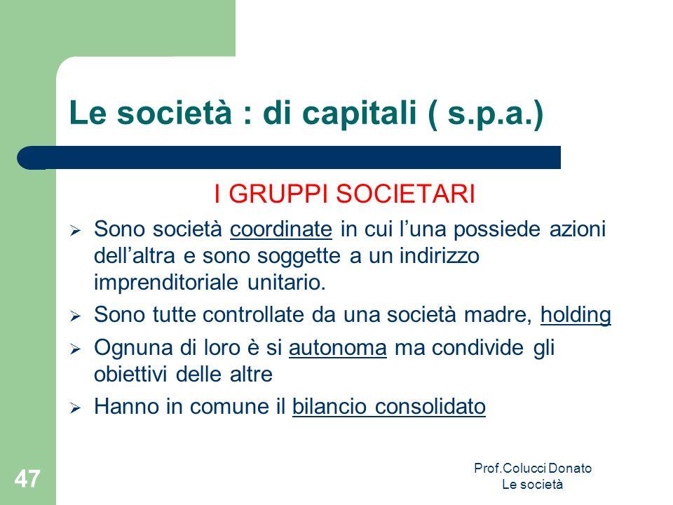 Le società : di capitali ( s.p.a.) I GRUPPI SOCIETARI Sono società coordinate in cui luna possiede azioni dellaltra e sono soggette a un indirizzo imp