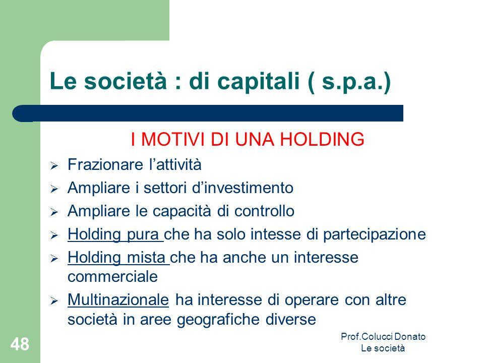 Le società : di capitali ( s.p.a.) I MOTIVI DI UNA HOLDING Frazionare lattività Ampliare i settori dinvestimento Ampliare le capacità di controllo Hol