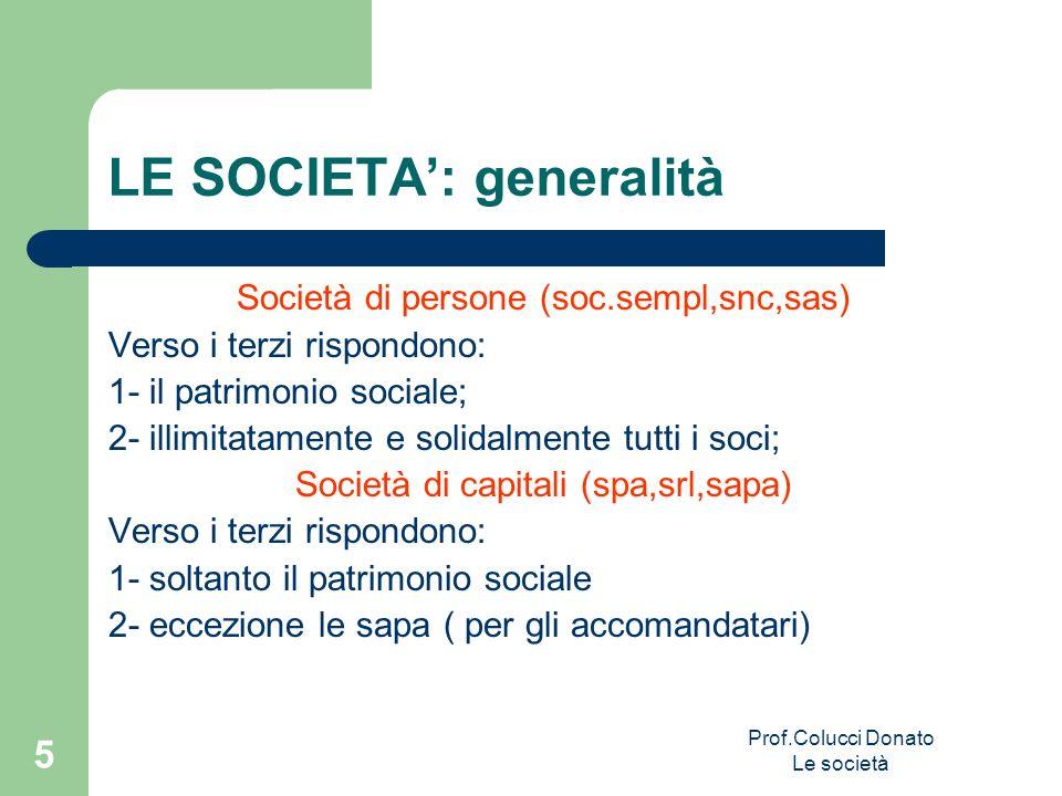 Società di persone (soc.sempl,snc,sas) Verso i terzi rispondono: 1- il patrimonio sociale; 2- illimitatamente e solidalmente tutti i soci; Società di