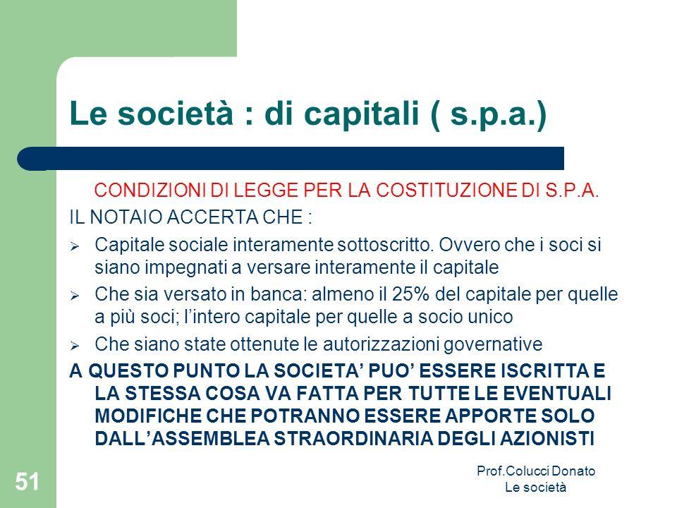 Le società : di capitali ( s.p.a.) CONDIZIONI DI LEGGE PER LA COSTITUZIONE DI S.P.A. IL NOTAIO ACCERTA CHE : Capitale sociale interamente sottoscritto