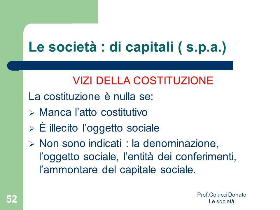 Le società : di capitali ( s.p.a.) VIZI DELLA COSTITUZIONE La costituzione è nulla se: Manca latto costitutivo È illecito loggetto sociale Non sono in