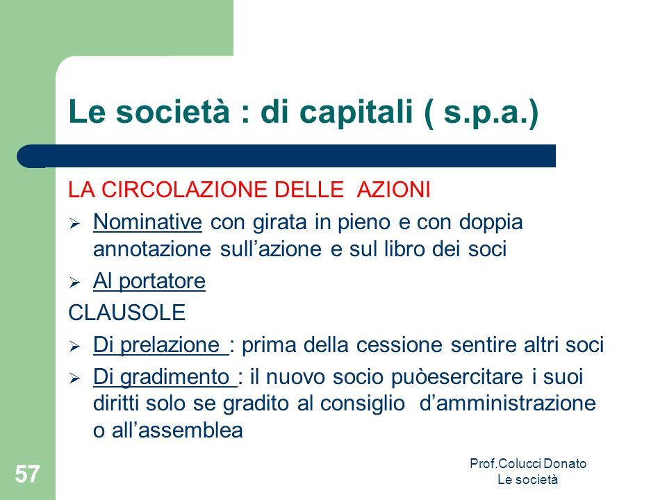 Le società : di capitali ( s.p.a.) LA CIRCOLAZIONE DELLE AZIONI Nominative con girata in pieno e con doppia annotazione sullazione e sul libro dei soc