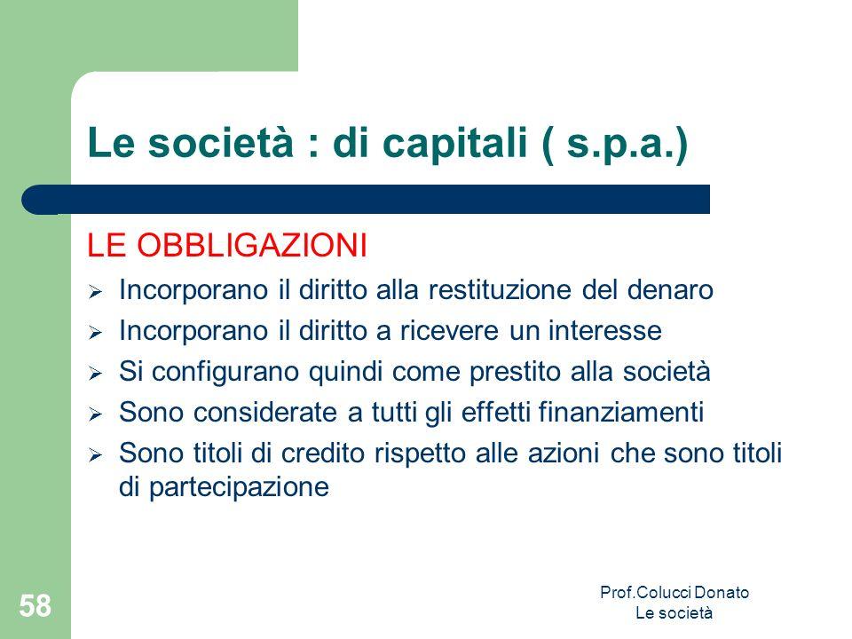 Le società : di capitali ( s.p.a.) LE OBBLIGAZIONI Incorporano il diritto alla restituzione del denaro Incorporano il diritto a ricevere un interesse