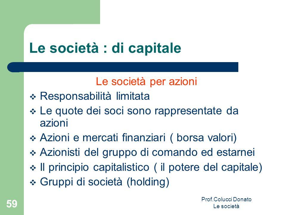 Le società per azioni Responsabilità limitata Le quote dei soci sono rappresentate da azioni Azioni e mercati finanziari ( borsa valori) Azionisti del