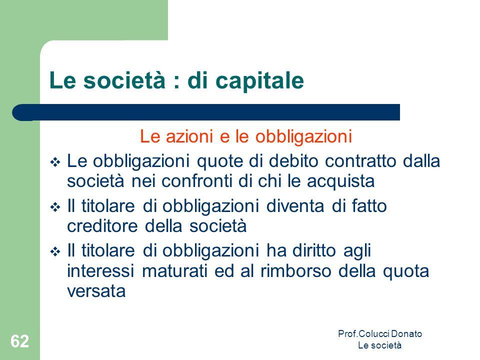 Le azioni e le obbligazioni Le obbligazioni quote di debito contratto dalla società nei confronti di chi le acquista Il titolare di obbligazioni diven