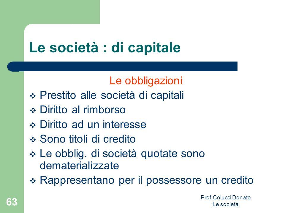 Le obbligazioni Prestito alle società di capitali Diritto al rimborso Diritto ad un interesse Sono titoli di credito Le obblig. di società quotate son
