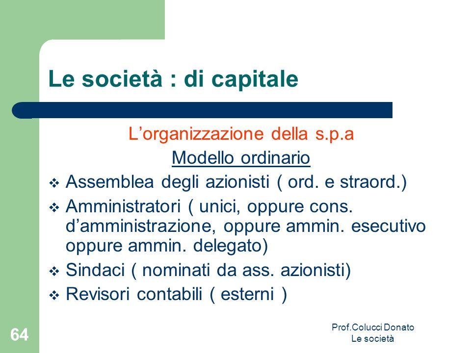 Lorganizzazione della s.p.a Modello ordinario Assemblea degli azionisti ( ord. e straord.) Amministratori ( unici, oppure cons. damministrazione, oppu