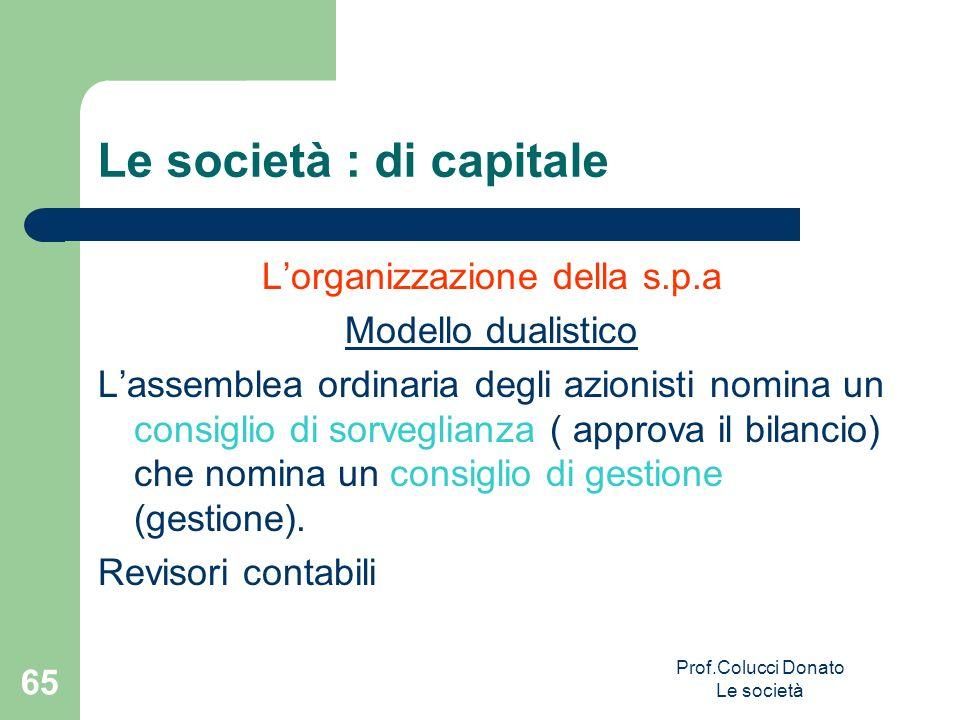Lorganizzazione della s.p.a Modello dualistico Lassemblea ordinaria degli azionisti nomina un consiglio di sorveglianza ( approva il bilancio) che nom