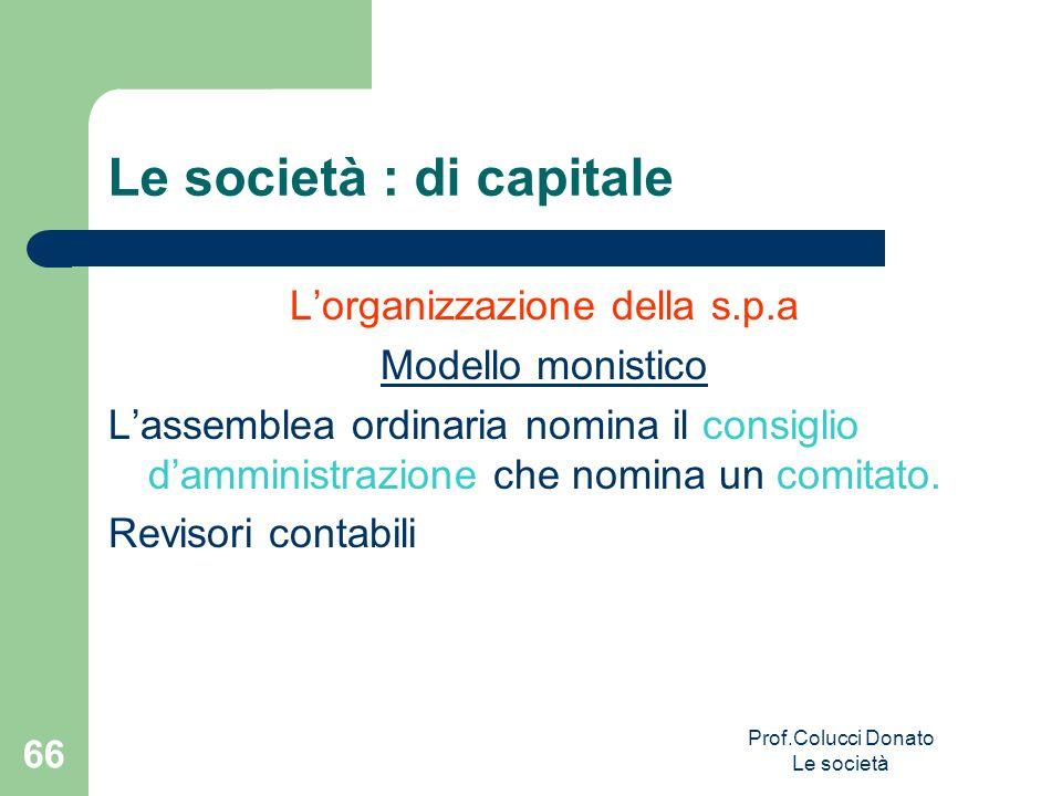 Lorganizzazione della s.p.a Modello monistico Lassemblea ordinaria nomina il consiglio damministrazione che nomina un comitato. Revisori contabili Le